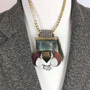 J. Crew Statement Stone & Wood Gold Necklace